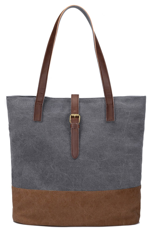 S-ZONE Women's Canvas Bag Lightweight Shoulder Bag Ladies Handbag Shopping Purse (Grey)