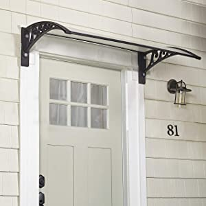 The Lakeside Collection Window Awning Or Front Door Canopy - Snow and Rain Blocker - Black