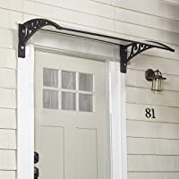 The Lakeside Collection Window Awning Or Front Door Canopy - Sun Shade and Rain Blocker - Black