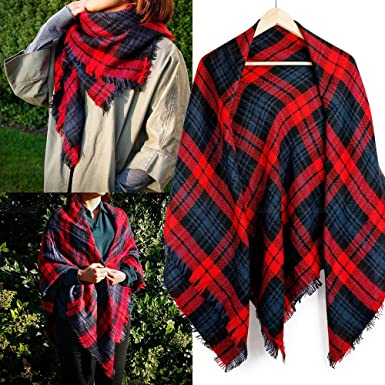 36d7cef7d1e Red Women Long Blanket Oversized Tartan Scarf Wrap Shawl Plaid Cozy ...
