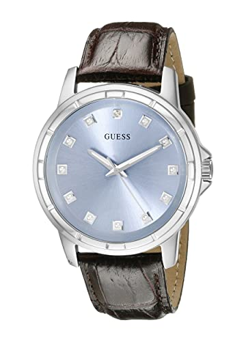 GUESS Men s U0519G2 Classic Stainless Steel Watch with Ice Blue Diamond Dial Brown Croco-Like Genuine Leather Strap