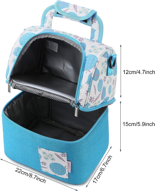 ThreeH Bolsa isot/érmica Bolsa de Leche Bolsa de Almacenamiento Doble Capa Impermeable para el Leche Materna Bolso Bandolera Almuerzo Bolsa BD07 Azul