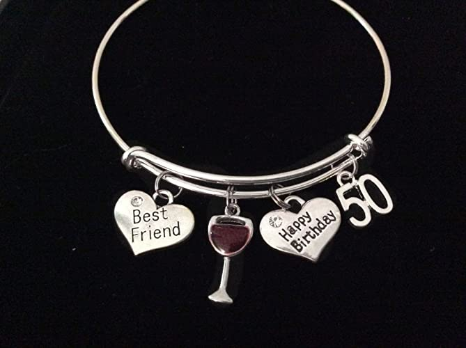 cc22c099758fb Happy Birthday Best Friend 50th Expandable Charm Bracelet Silver Adjustable  Bangle Gift Red Wine Glass