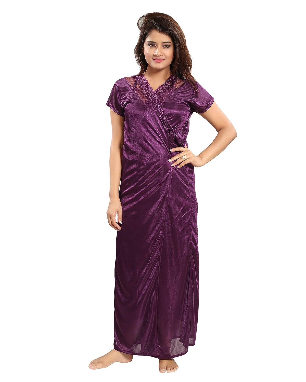 REPOSEY Wine Women s Satin Nightwear Free Size Set of 4 Pcs Robe with Nighty b7137110b