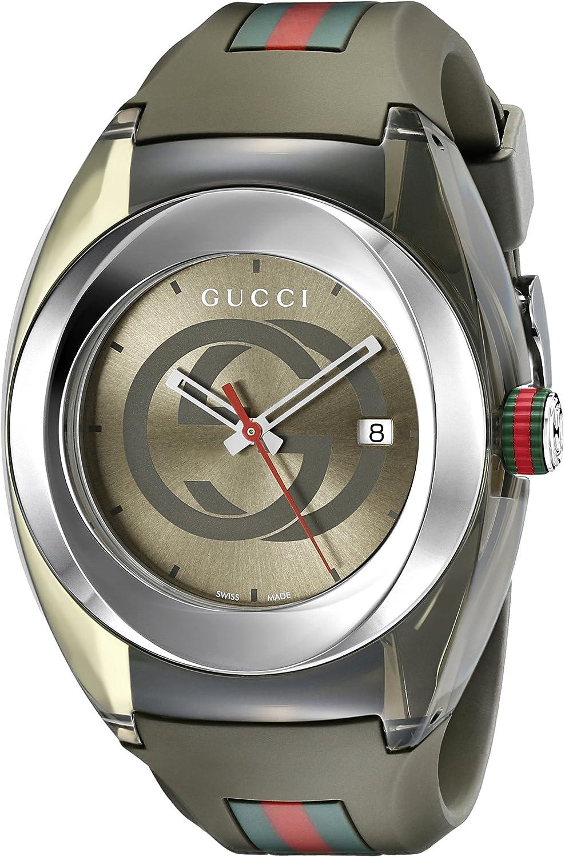 Gucci YA137106 - Reloj de Cuarzo Unisex, con Correa de Goma, Color Verde
