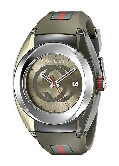 Gucci YA137106 - Reloj de cuarzo unisex, con correa de goma, color verde: Amazon.es: Relojes