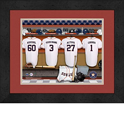 dbbef650e Amazon.com   Houston Astros Personalized MLB Baseball Locker Room Jersey  Framed Print 14x18 Inches   Sports   Outdoors