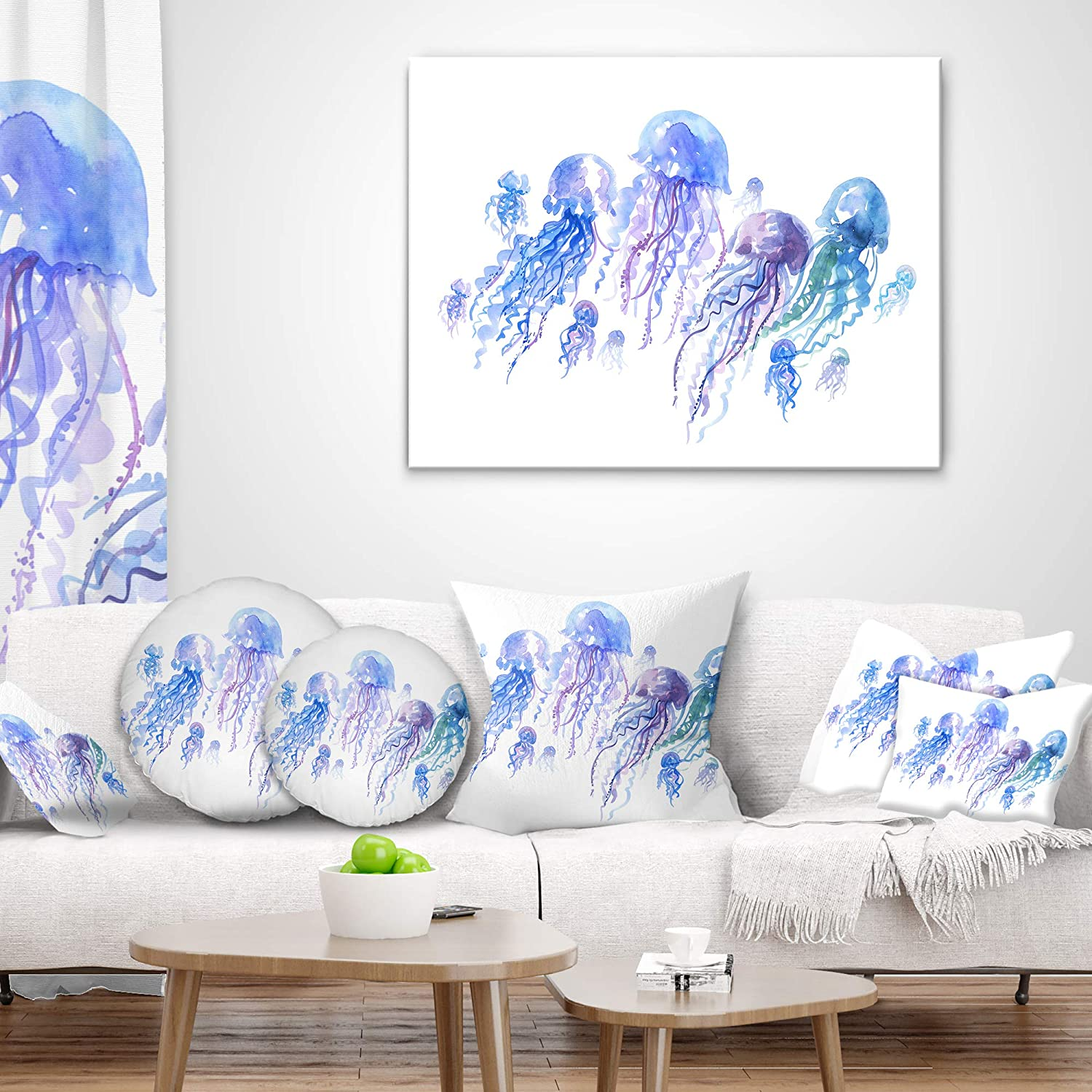 Sofa Throw Pillow 26 x 26 Designart CU13304-26-26 Blue Purple Jellyfish Group Abstract Cushion Cover for Living Room