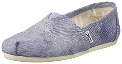 Amazon.com | TOMS Womens 10009727 Slate Blue Washed Twll Alpargata Flat | Shoes