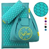 TimeBeeWell Eco-Friendly Back and Neck Pain Relief - Acupressure Mat and Pillow Set - Relieves Stress, Back, Neck, and Sciatic Pain - Comes in a Carry Bag for Storage and Travel
