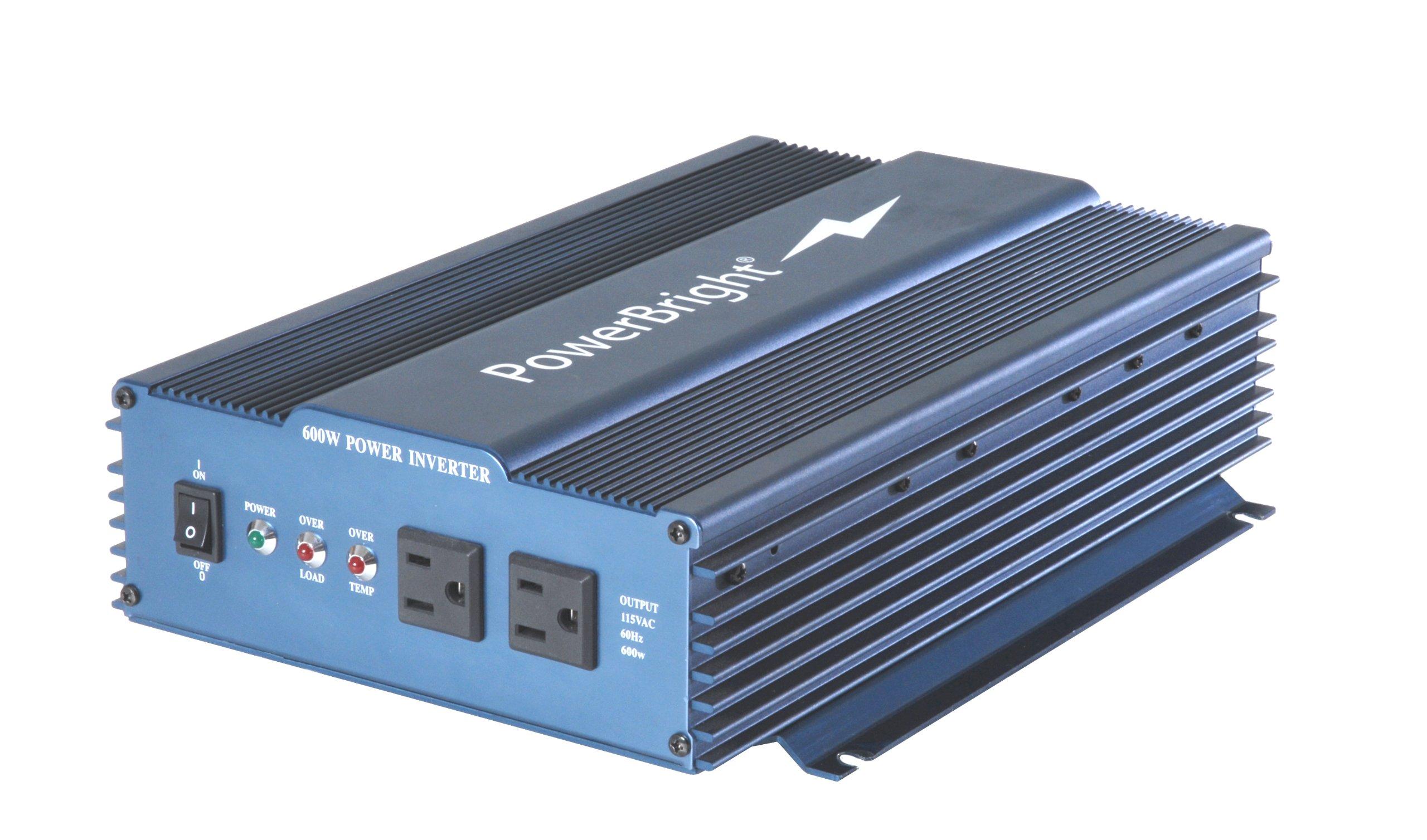 Power Bright APS600-12 Pure Sine Power Inverter 600 Watt continuous / 1000 watt Peak 12 Volt DC To 120 Volt AC