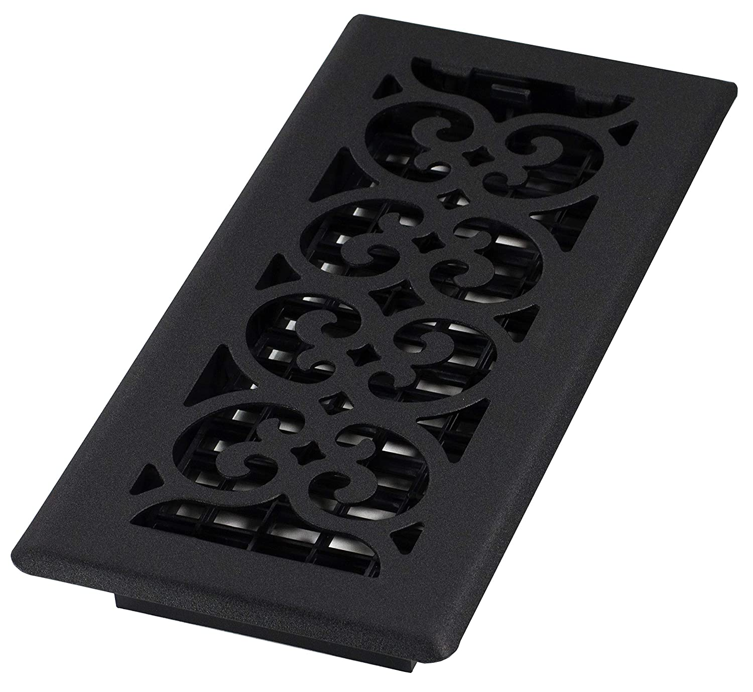 Decor Grates ST410 Scroll Floor Register, Textured Black Painted, 4-Inch by 10-Inch