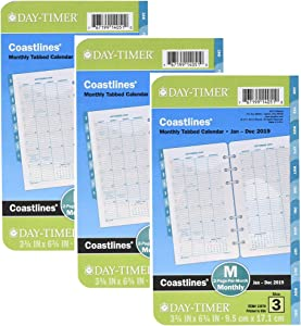 """Day-Timer Refill 2019, Two Page per Month, January 2019 - December 2019, 3-3/4"""" x 6-3/4"""", Loose Leaf, Portable Size, Coastlines (13970) 3 Pack"""