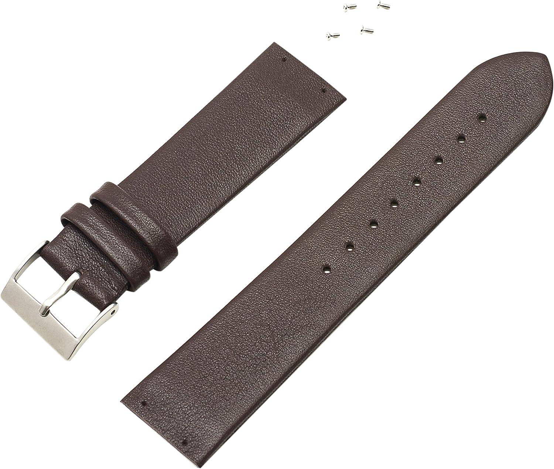 Watch Technicians Skagen - Correa de piel italiana suave, modelos de 233XX en adelante, para hombre, color marrón, 4 tornillos incluidos