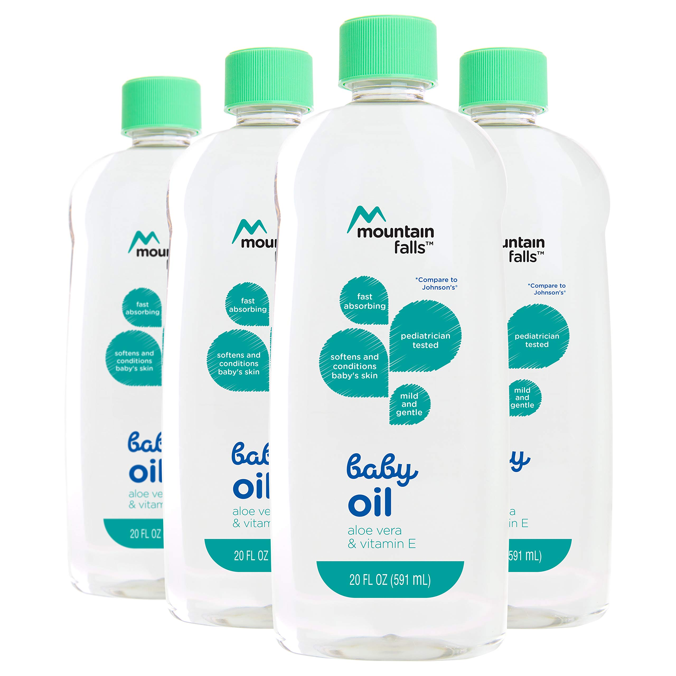 Mountain Falls Baby Oil with Aloe Vera and Vitamin E, Compare to Johnson's, 20 Fluid Ounce (Pack of 4)