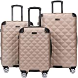 Kenneth Cole Reaction Diamond Tower Luggage Collection Lightweight Hardside Expandable 8-Wheel Spinner Travel Suitcase, Rose
