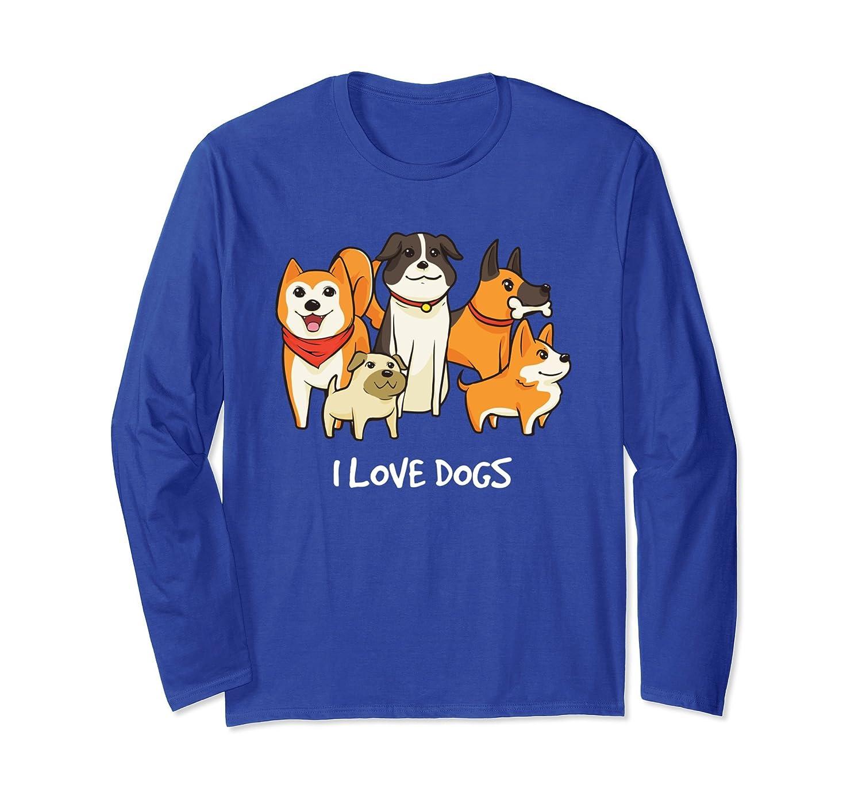 Cute I Love Dogs Family Portrait Long Sleeve T-Shirt-AZP