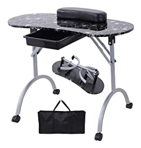 Nail Table- SUNCOO Portable Folding Station Desk Movable Tech Table for Home Spa Beauty Salon with Wrist Cushion, Drawer, 4 Lockable Wheels, Carrying Bag 35.4