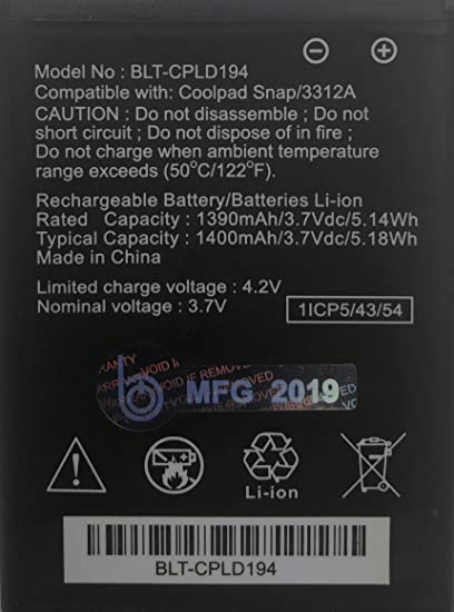 New 1400 mAh BELTRON Replacement Battery for Coolpad Snap 3312A (Boost  Mobile, Sprint, T-Mobile, Virgin Mobile) CPLD-194