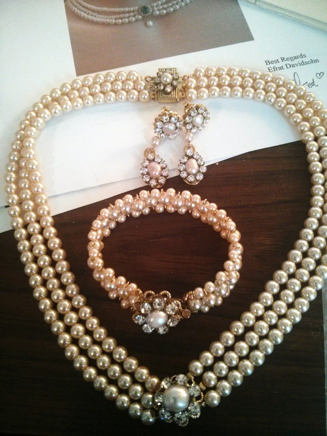 Blush Romantic Wedding Boho Bridal Necklace Rose Gold Layered Pearl Necklace Chunky Vintage Pearl /& Crystal Necklace
