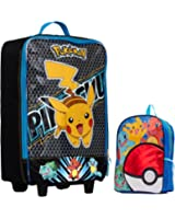 "Pokemon Kids 2 Piece Travel Set - Pikachu Pilot Case Luggage and 16"" Backpack"
