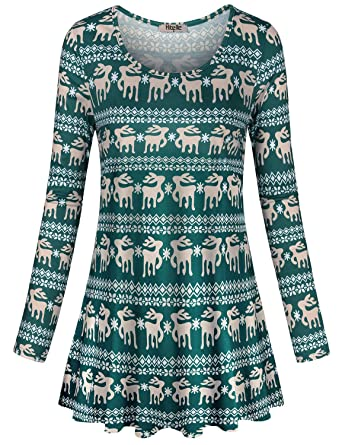Hibelle Women s Scoop Neck Long Sleeve Casual Printed Flared Basic ... f8c0a3a35