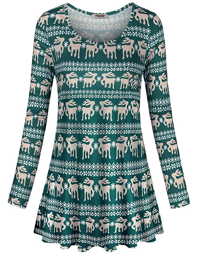 058b8975d25 Hibelle Women's Scoop Neck Long Sleeve Casual Printed Flared Basic Tunic  Tops at Amazon Women's Clothing store: