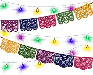 Mexican Fiesta Party Decorations – Felt Papel Picado Banner & Fun LED String Lights, for Cinco De Mayo, Taco Bout Tuesday, Birthday, Engagement Supplies