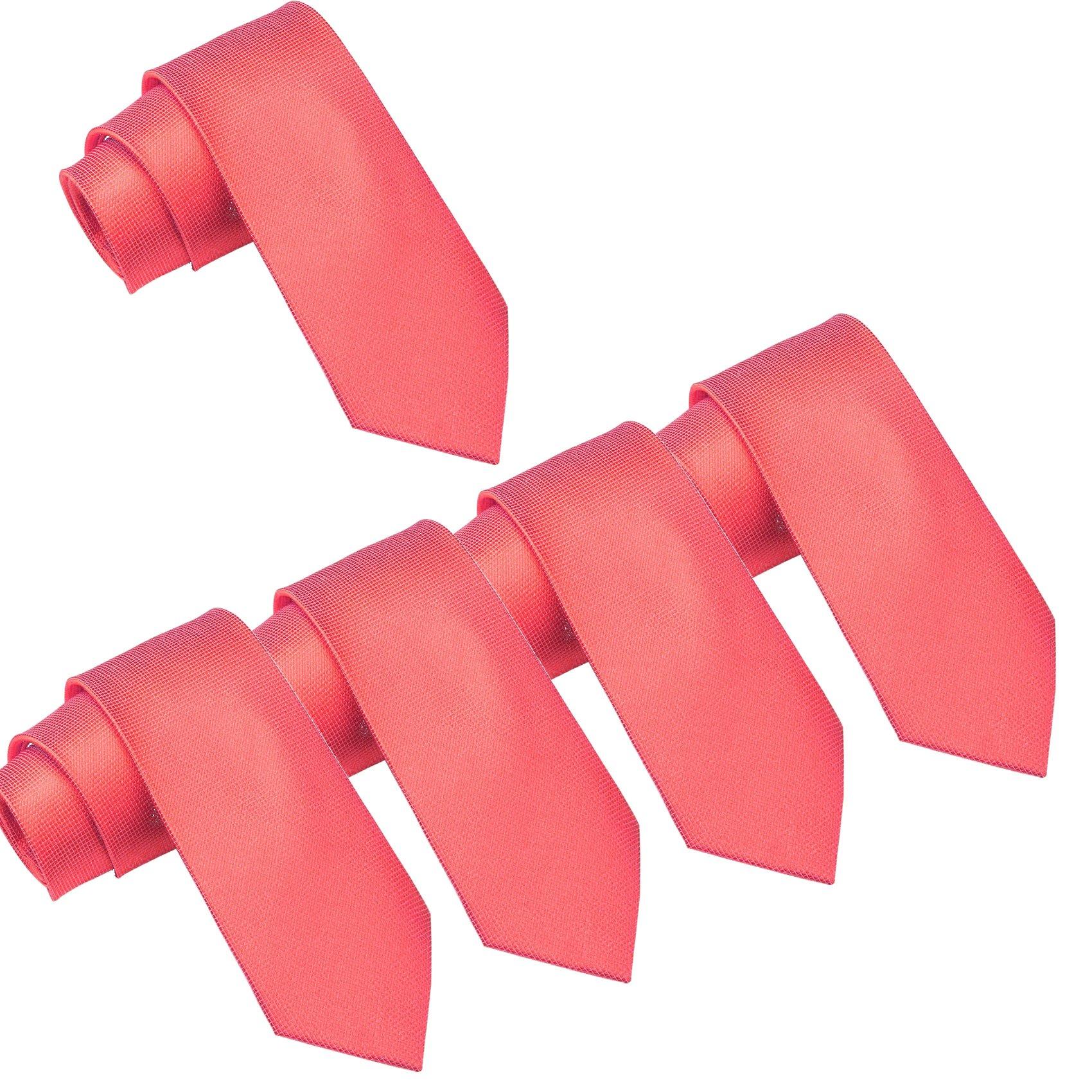 Mens Wedding Tie Wholesale Groomsman Solid Color Skinny Ties 5 Pack (2 inch) (Coral)