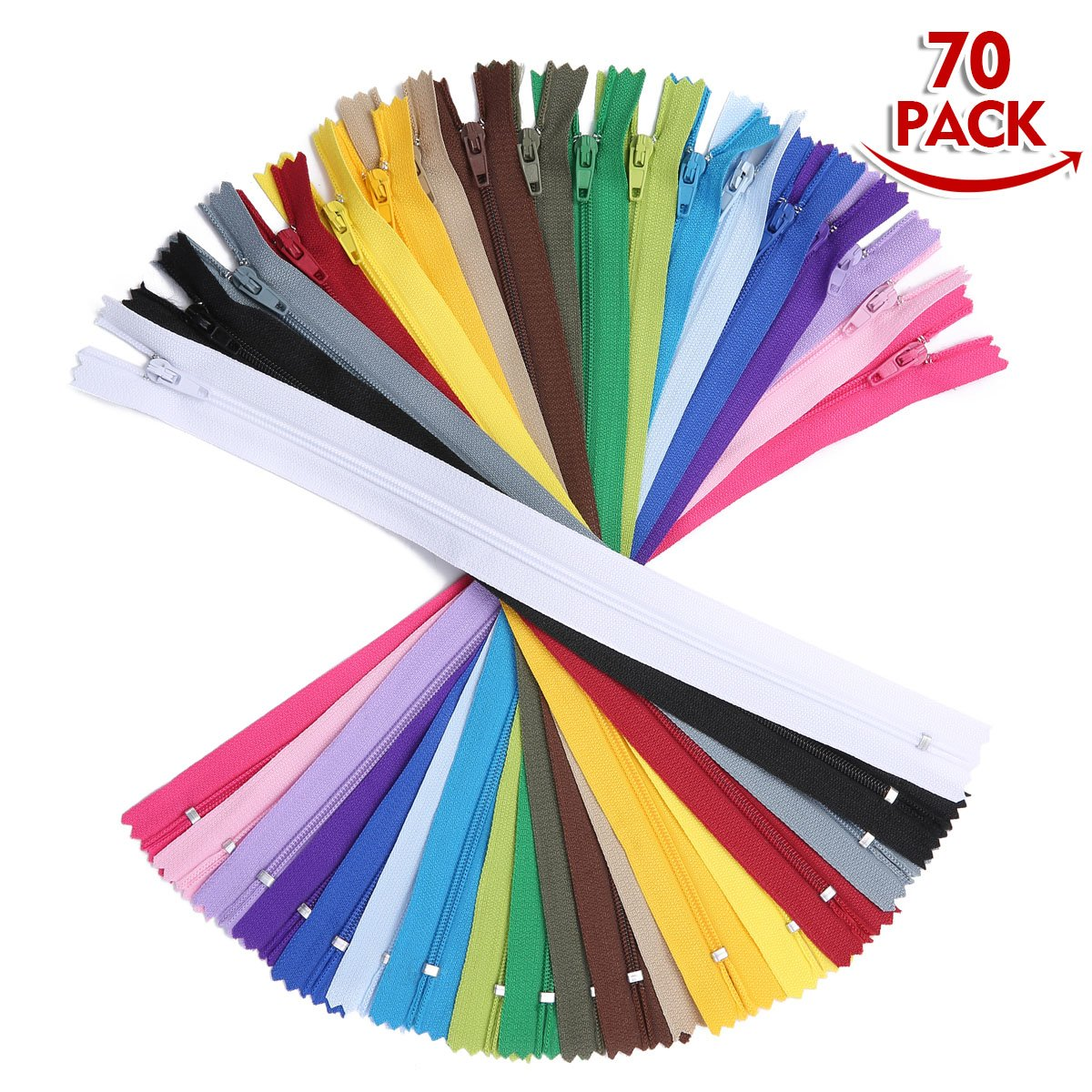 KINGSO 70Pcs 16 inch Nylon Invisible Coil Zippers Bulk Tailor Tools Garment Accessories for Sewing Crafts 20 Colors KINGSOokiuhg3327
