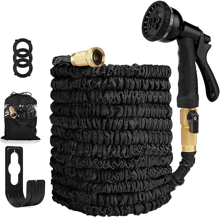 Garden Hose Expandable Hose - Heavy Duty Flexible Leakproof Hose - 8-Pattern High-Pressure Water Spray Nozzle & Bag & Plastic Holder.No Kink Tangle-Free Pocket Water Hose -Black (100FT Garden Hose)