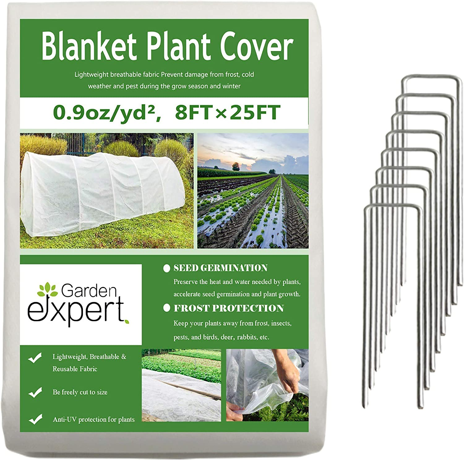 Garden EXPERT Plant Covers Freeze Protection Floating Row Cover 0.9oz Fabric Frost Cloth Plant Blanket for Plants & Vegetables in Winter(8FTx25FT,with 8 PCS Staples Stakes)