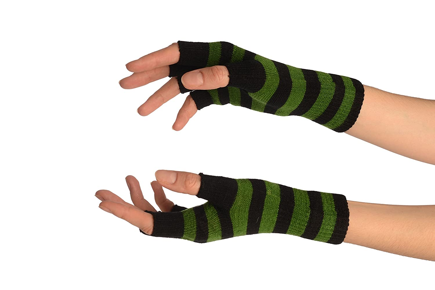 Green & Black Stripes Short Fingerless Gloves - Gloves
