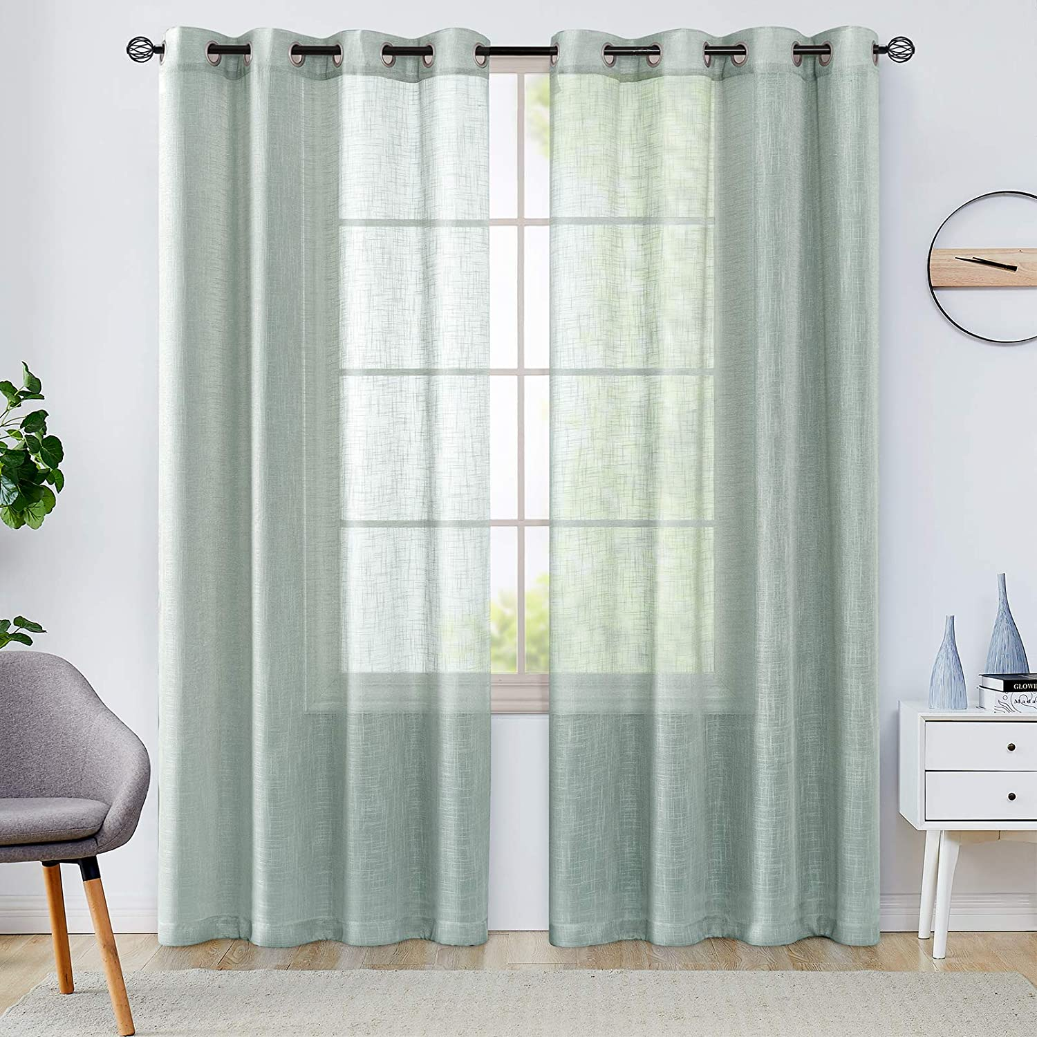 Open Weave Grommet Sheer Curtains for Living Room Slub Decorative Voile  Window Treatment Sets for Bedroom Pack of Two 5 Inch Blue Haze