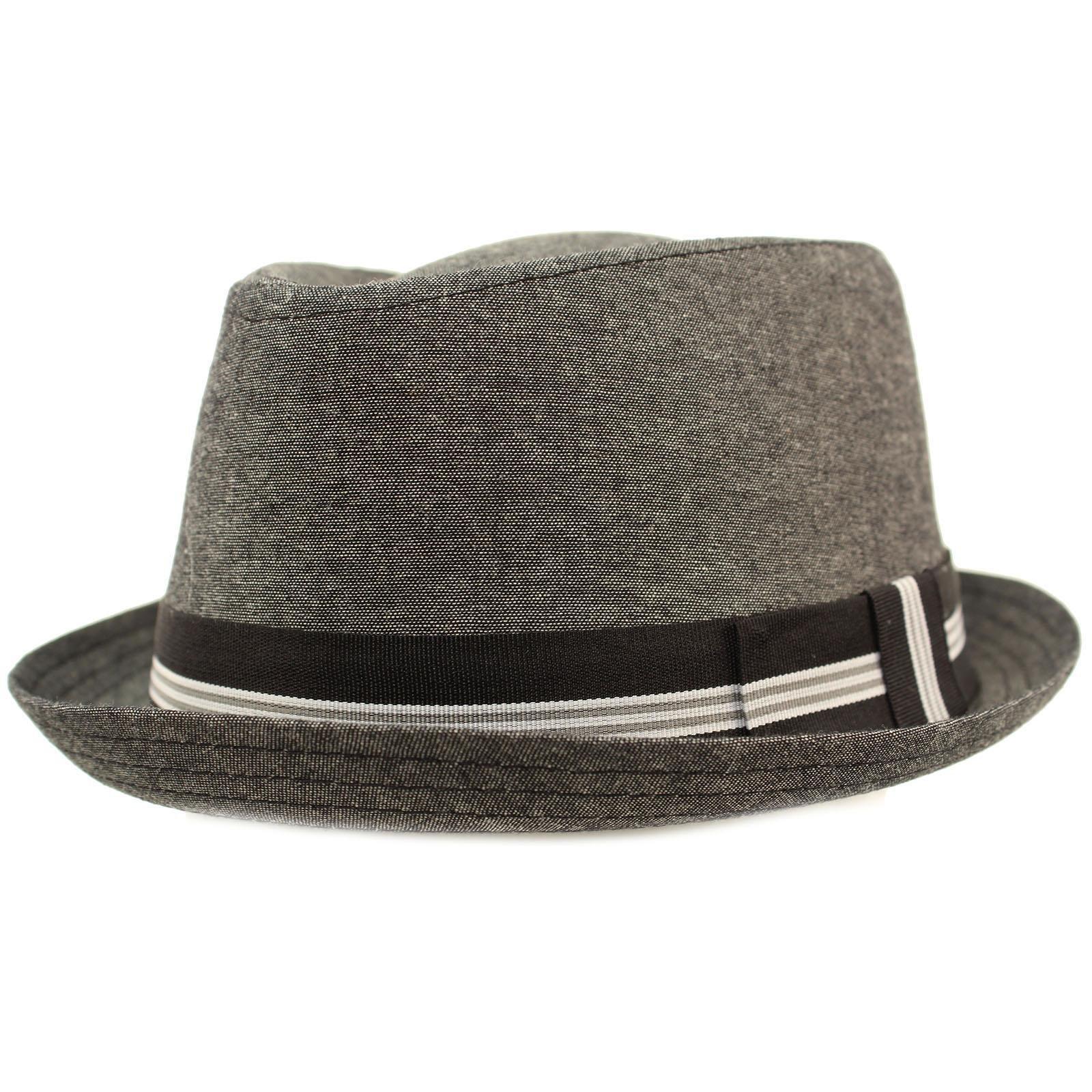SK Hat shop Men's Linen Cotton Light Tweed Porkpie Derby Fedora Musician Jazz Hat L/XL