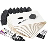 Charles Leonard Dry Erase Lapboard Class Pack, Includes 12 Each of Whiteboards, 2 Inch Felt Erasers and Black Dry Erase…