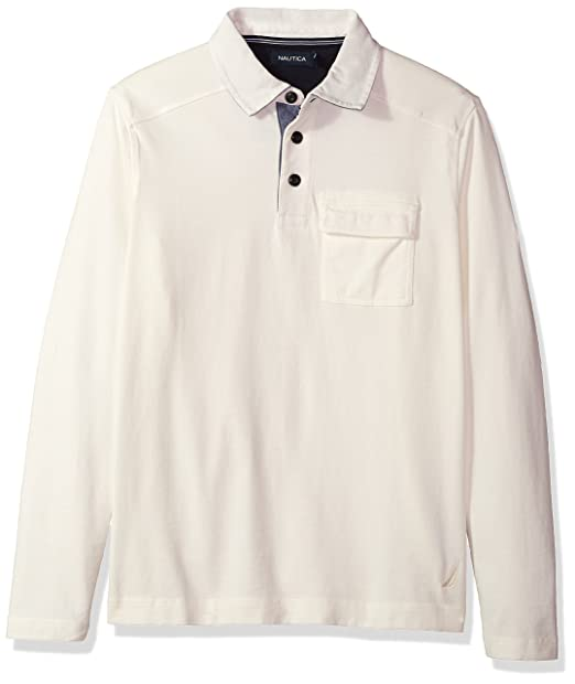 Nautica Mens Standard Long Sleeve Heavy Weight Jersey Polo Shirt ...