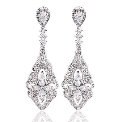 GULICX Art Deco Silber-Ton Blumen Ohrringe Weiße Kristall Zirkonia ...