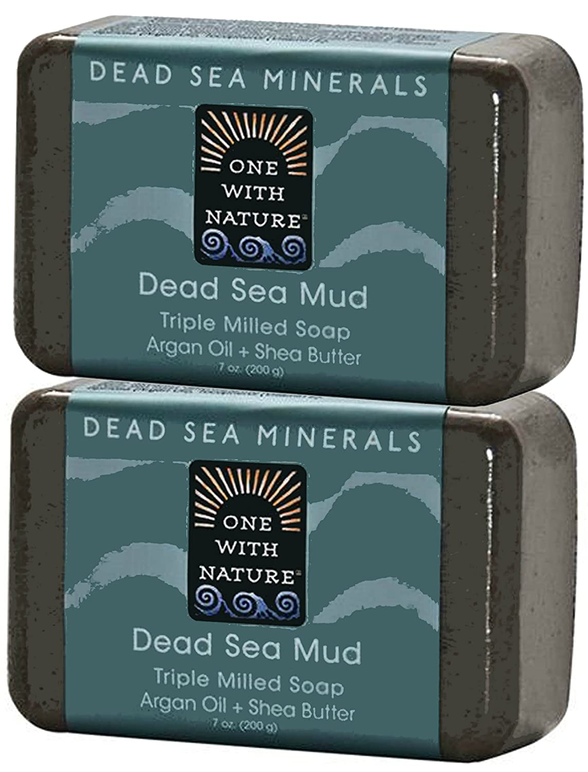 One With Nature Dead Sea Salt Mud Argan Oil and Shea Butter Triple Milled Soap (Pack of 2)