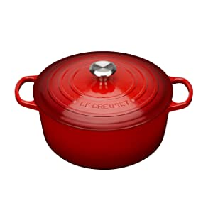 Le Creuset Signature Enameled Cast-Iron 5-1/2-Quart Round French (Dutch) Oven, Cerise (Cherry Red) w/Stainless Knob