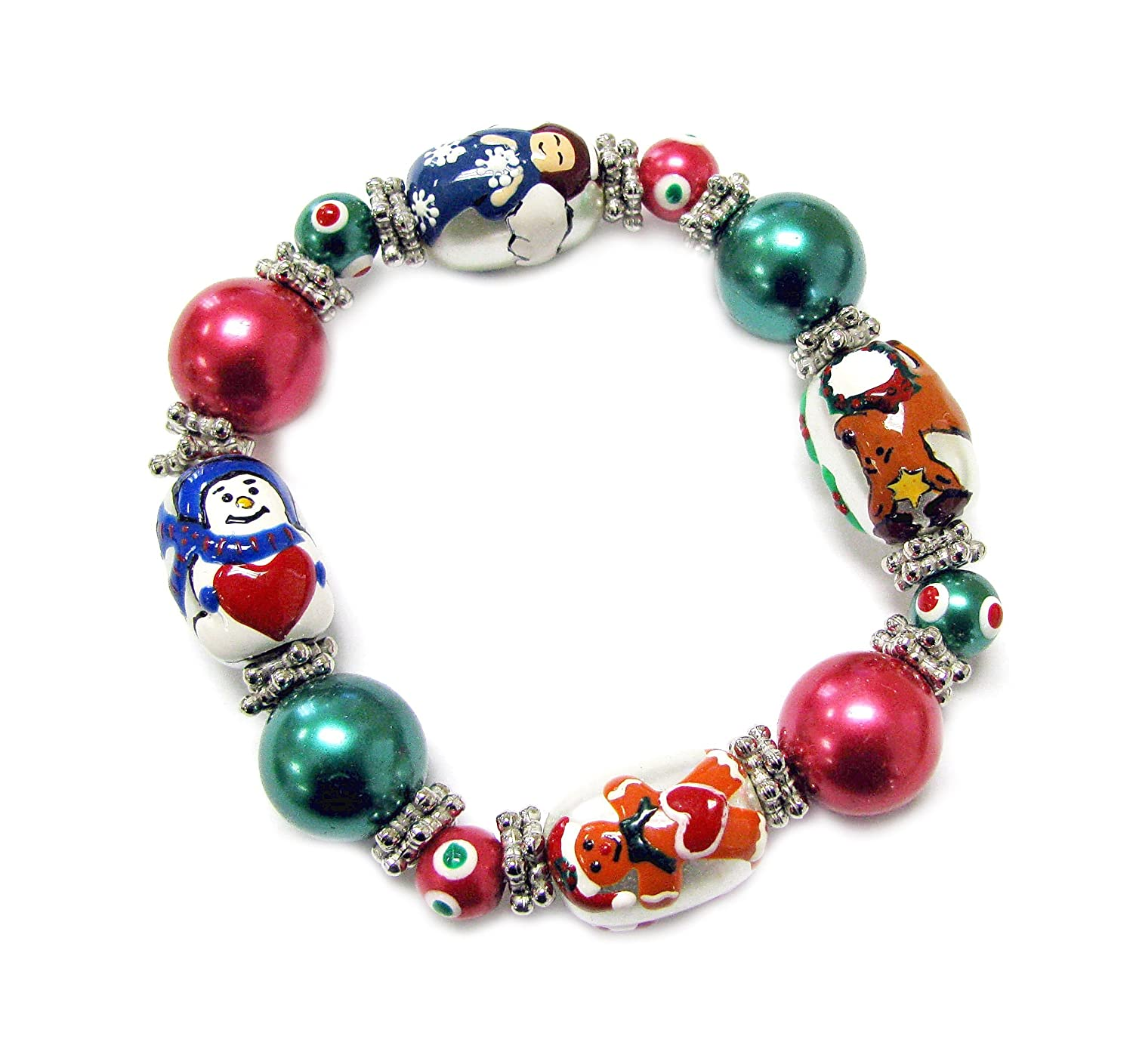 Linpeng Hand Painted Reindeer Angel Gingerbread Man Snowman Glass Beads Stretch Bag Iup 13 6 Christmas Bracelet Pearly Mixed Colors