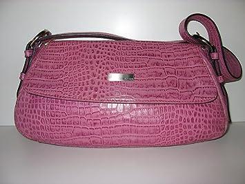 4851c7d5fe331 Kleine Shopper Disser Tasche Bag Schultertasche Rosa Pink Kroko Leder Look  Borsa
