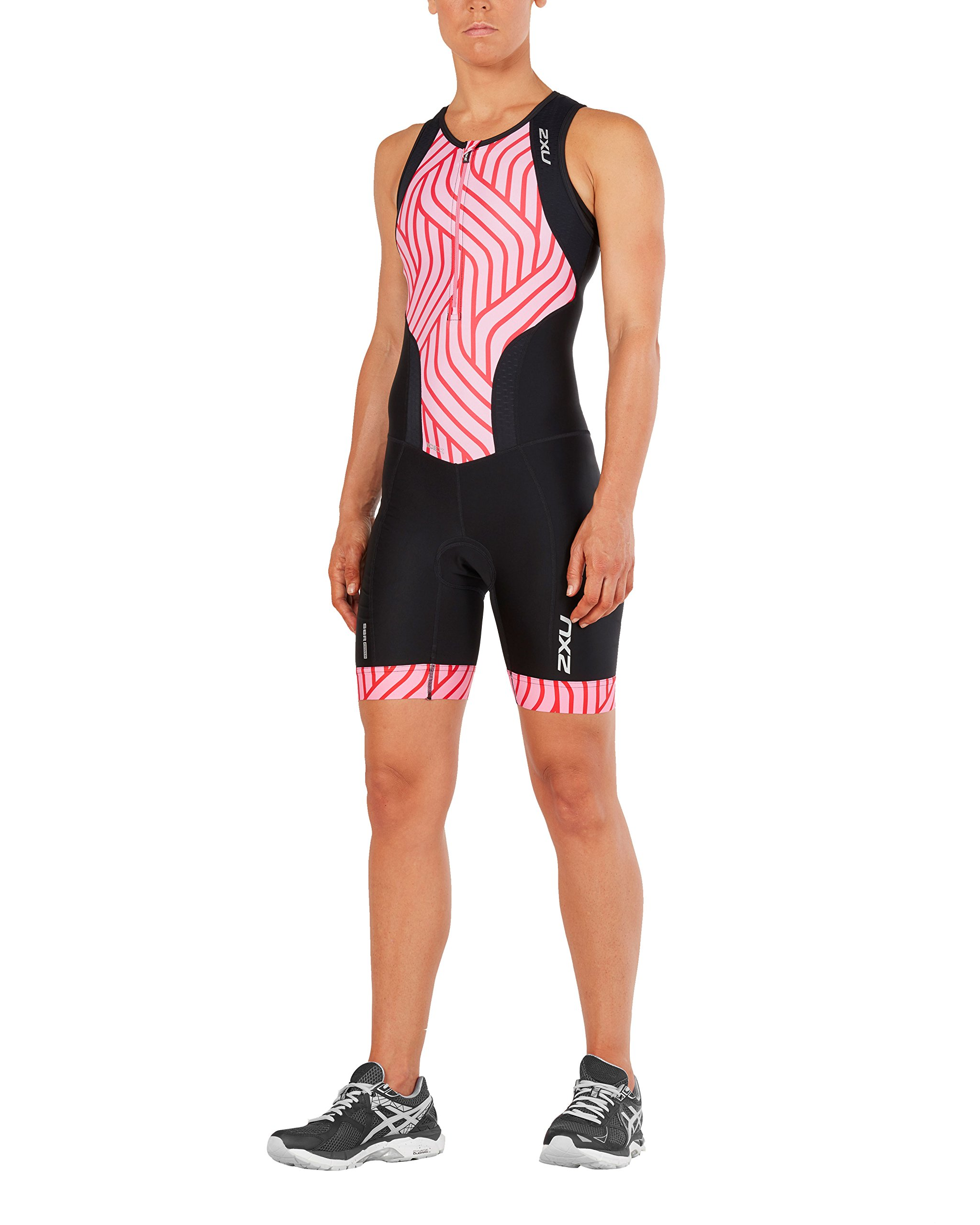 2XU Womens Perform Front Zip Trisuit, Black/Rose Pink Tide, Small