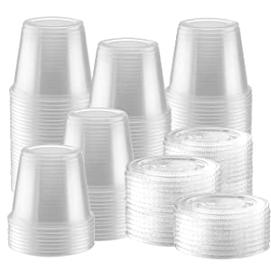 200-Pack of Clear Plastic Jello Shot Cup Containers with Snap on Leak-Proof Lids –Jello Shooter Shot Cups -Compact Food Storage for Portion Control, 1-2-5 oz,Sauces, Liquid, Dips (5.5 oz)