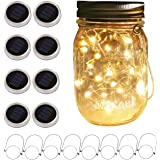 Solar Mason Jar Lid String Lights, 8 Pack 20 Led String Fairy Star Firefly Jar Lids Lights with 8 Hangers Included (Jars…