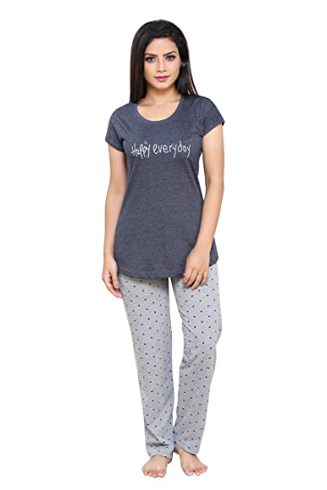 7bcbea090c9 Boring Dress Women s Hosiery Cotton Knitted Top and Pajama Set Night Suit  (Grey
