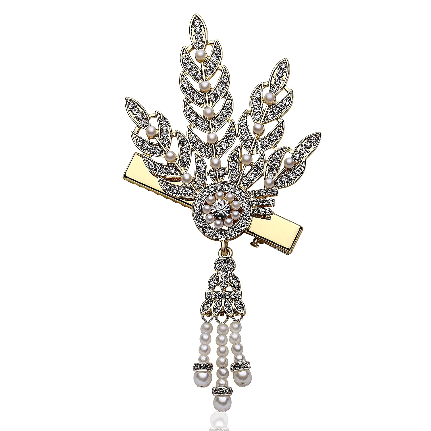 Coucoland 1920s Crystal Hair Pins Vintage Hair Pins Great Gatsby Headband Flapper Hair Clips Accessories