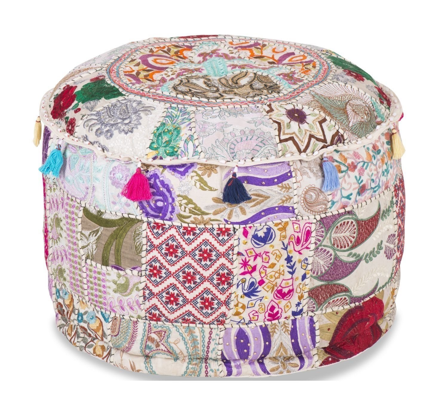 Indian Living Room Pouf, Foot Stool, Round Ottoman Cover Pouf,Traditional Handmade Decorative Patchwork Ottoman Cover,Indian Home Decor Cotton Cushion Ottoman Cover 18 x 15'' inches (White)