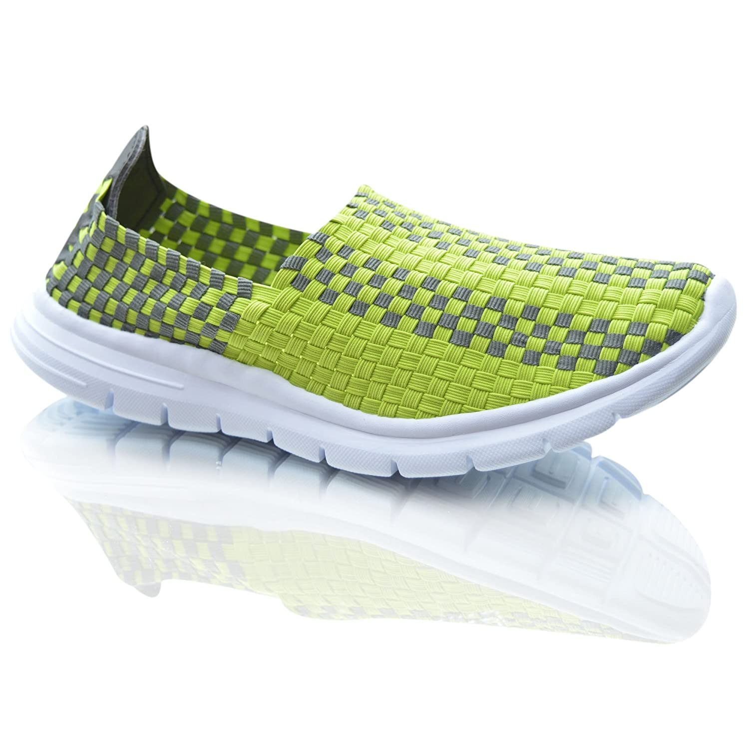 cf0842b3f406 Womens Sports Elasticated Woven Trainers Casual Pumps Low Top Slip On Shoes