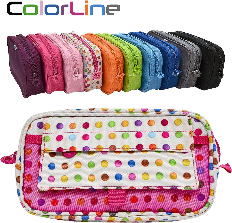 Colorline 59911 - Portatodo Xtra, Estuche Multiuso para Viaje, Material Escolar, Neceser y Accesorios. Color Puntos Colores, Medidas 22 x 12.5 x 4 cm: Amazon.es: Oficina y papelería